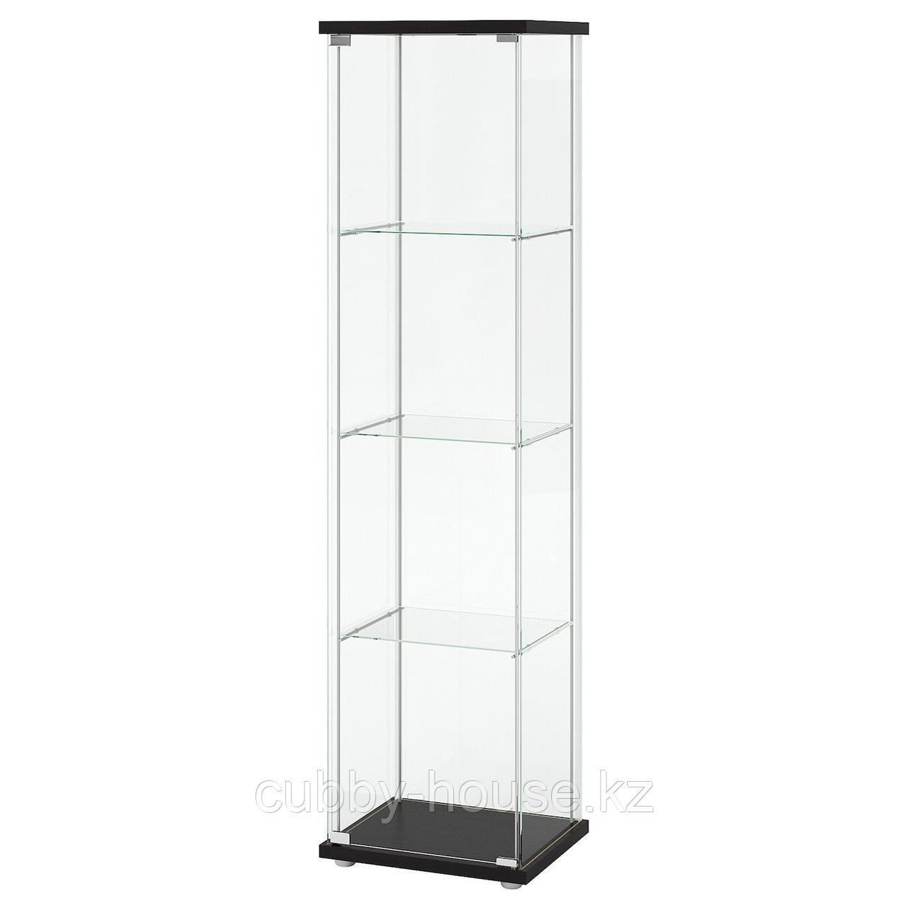 ДЕТОЛЬФ Шкаф-витрина, черно-коричневый, 43x163 см