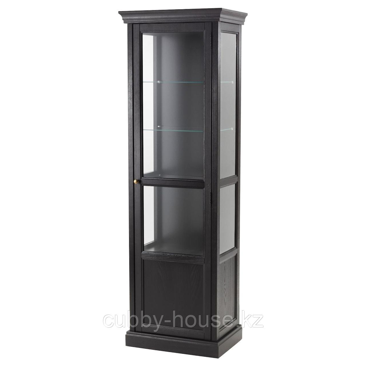 МАЛЬШЁ Шкаф-витрина, черная морилка, 60x40x186 см