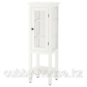 ХЕМНЭС Высокий шкаф со стеклянной дверцей, белый, 42x38x131 см, фото 2