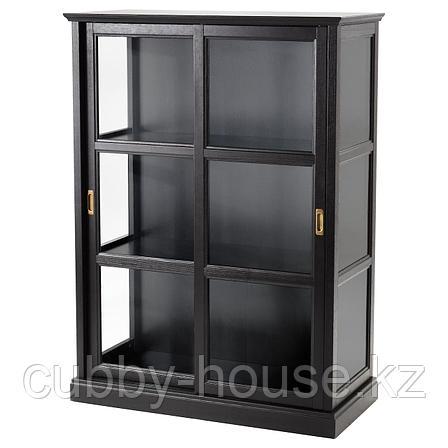 МАЛЬШЁ Шкаф-витрина, черная морилка, 103x48x141 см, фото 2