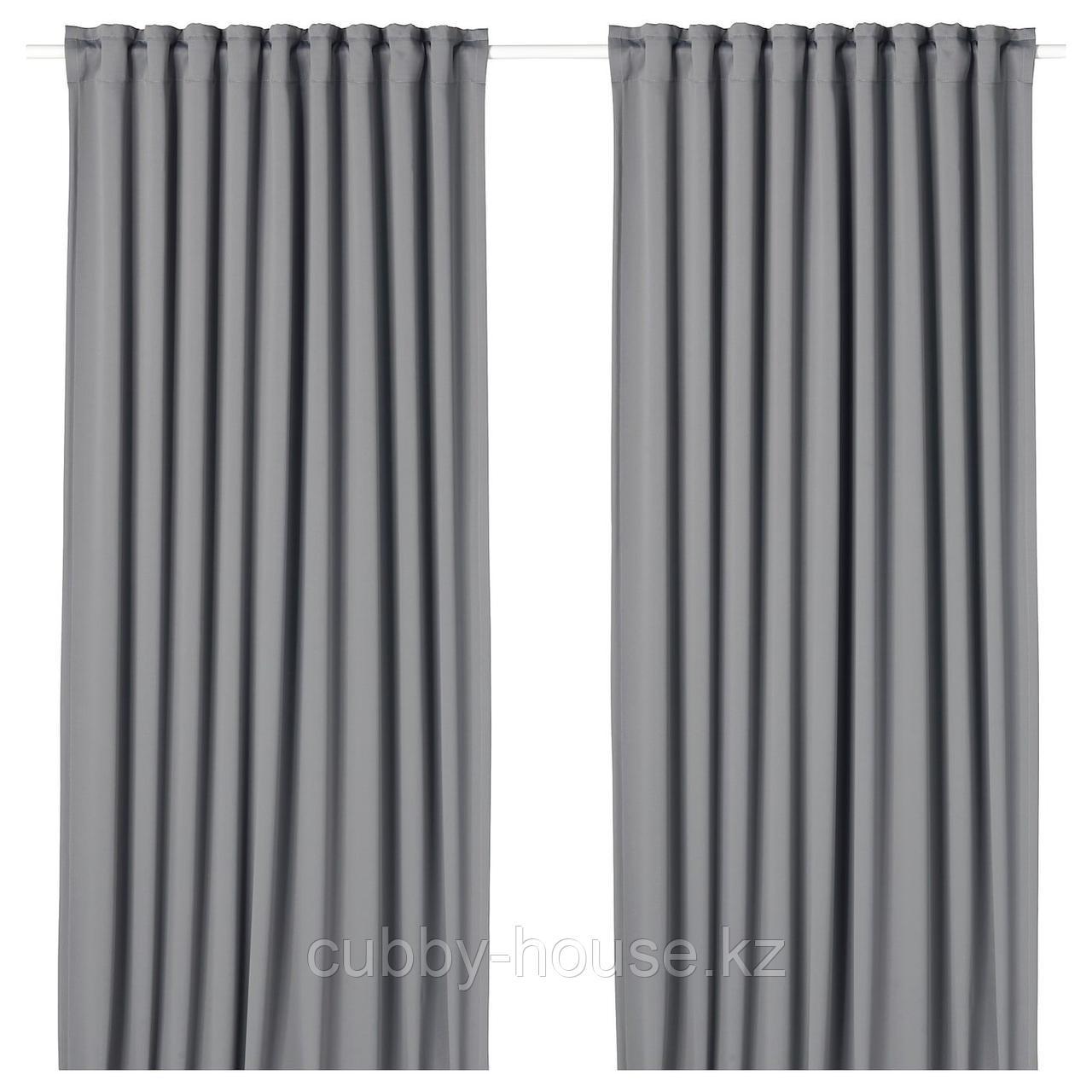 МАЙГУЛЛ Гардины, блокирующие свет, 1 пара, серый, 145x300 см