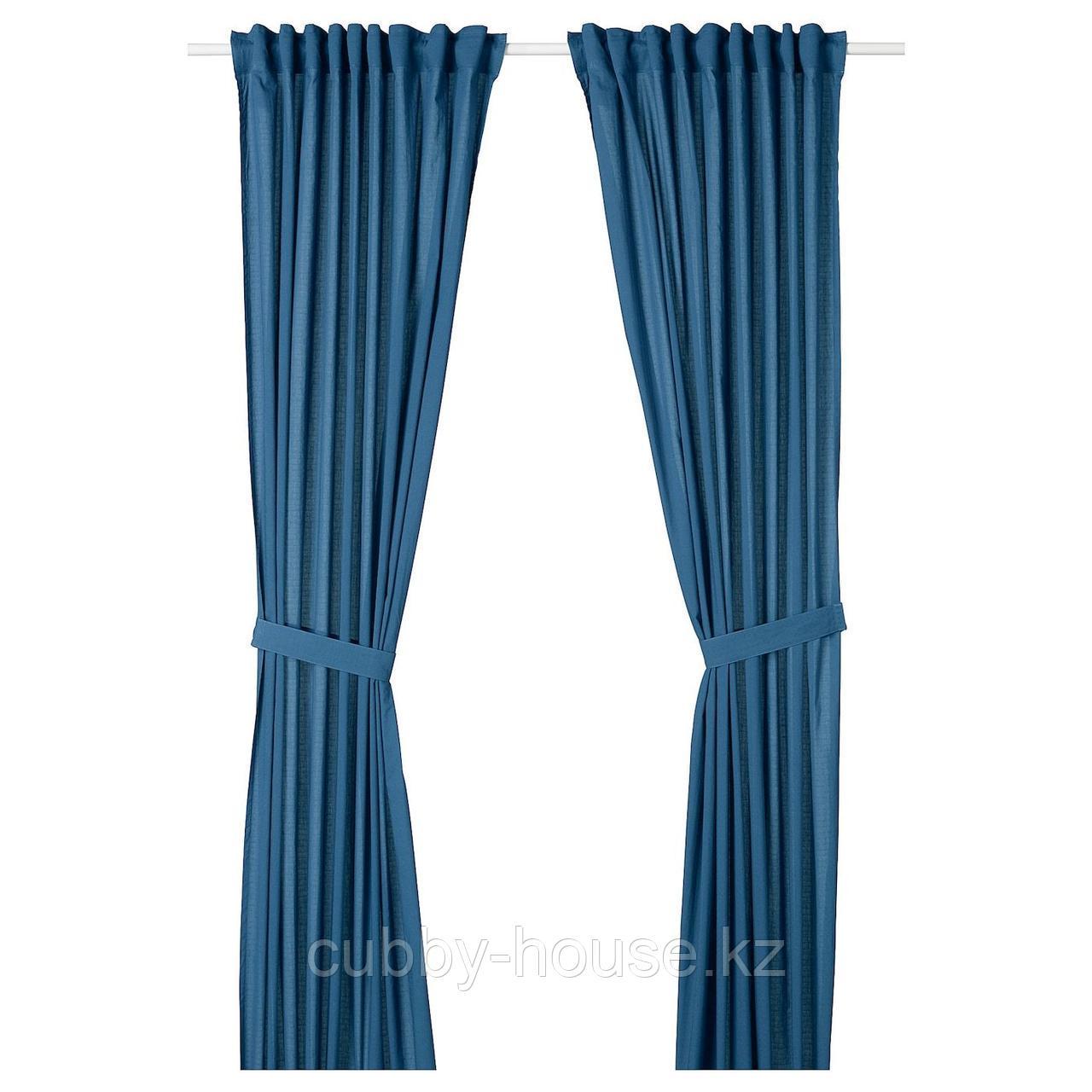 АМИЛЬДЭ Гардины с прихватом, 1 пара, синий, 145x300 см