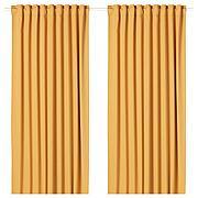 МАЙГУЛЛ Затемняющие гардины, 1 пара, желтый, 145x300 см