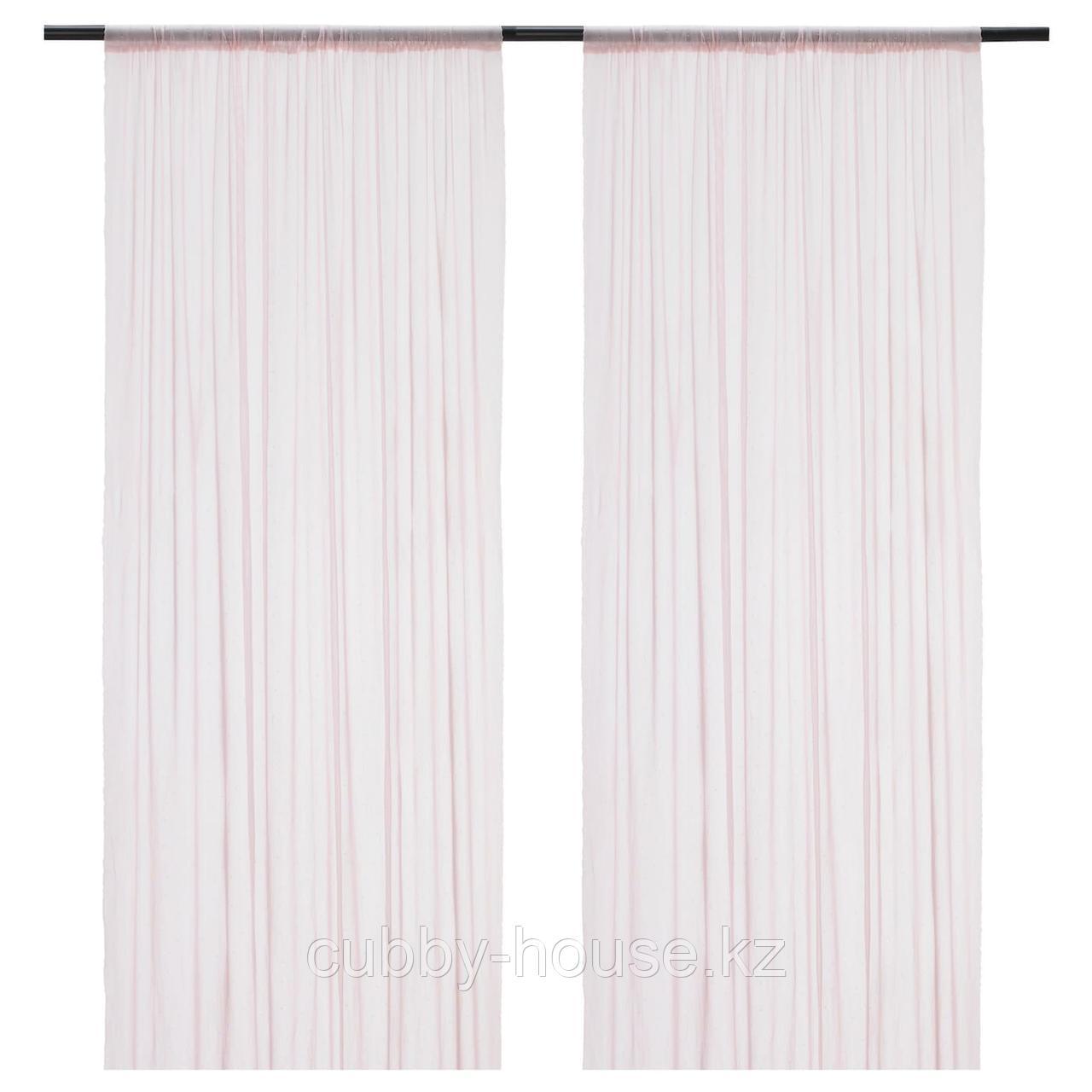 ХИЛЬДРАН Гардины, 2 шт., розовый, точечный, 145x300 см