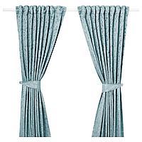 ЛИЗАБРИТТ Гардины с прихватом, 1 пара, синий, 145x300 см