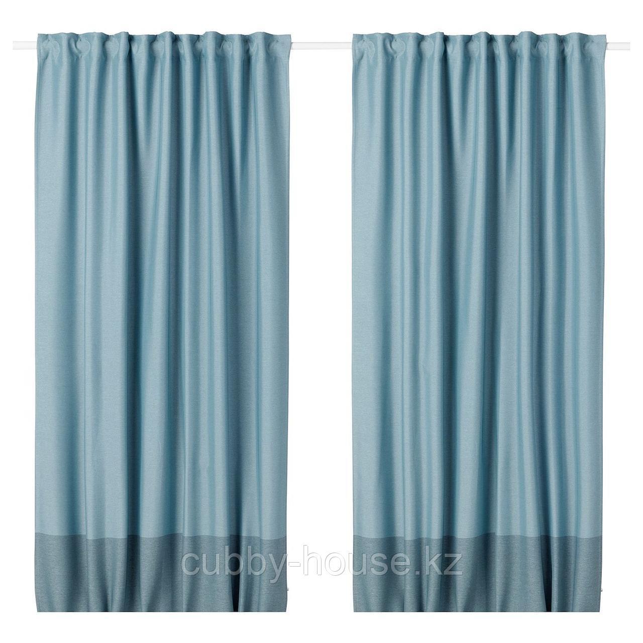 МАРЬЮН Затемняющие гардины, 1 пара, синий, 145x300 см