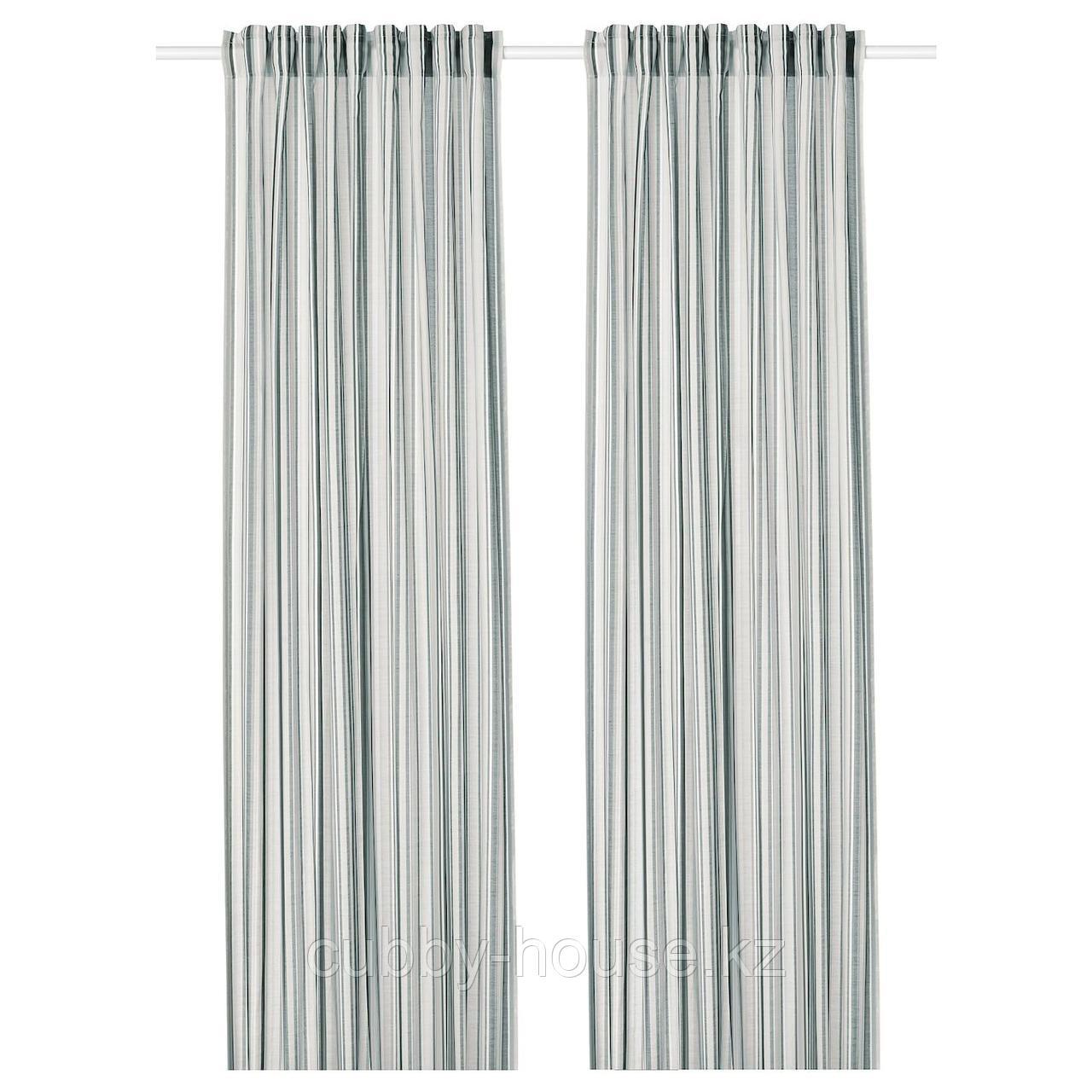 ПРАКТКЛОККА Гардины, 1 пара, серый, в полоску, 145x300 см