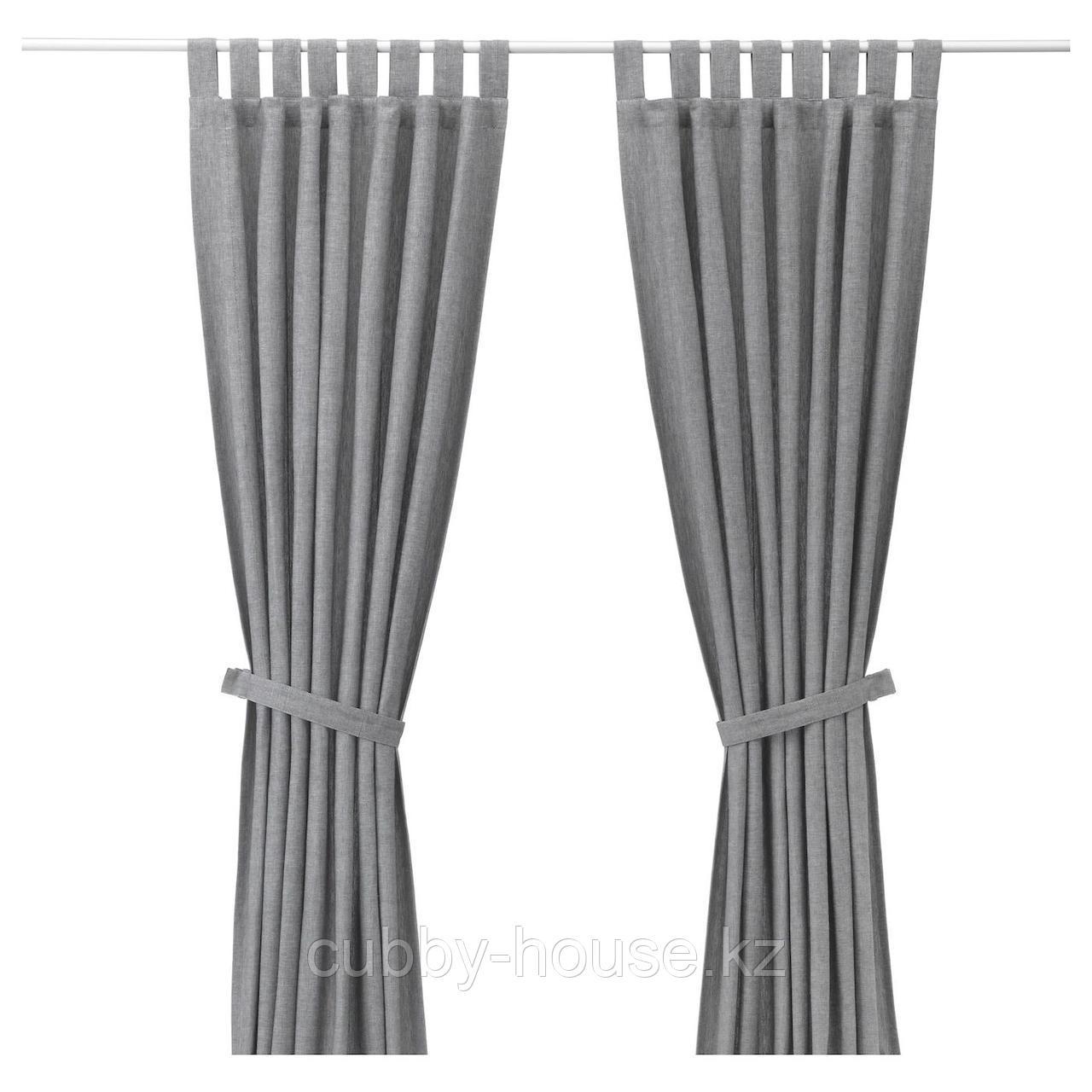 ЛЕНДА Гардины с прихватом, 1 пара, серый, 140x300 см