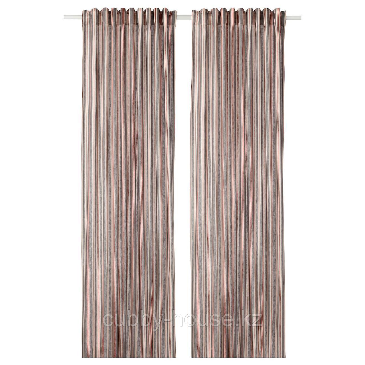 БЕРГСКРАББА Гардины, 1 пара, серый, красный в полоску, 145x300 см