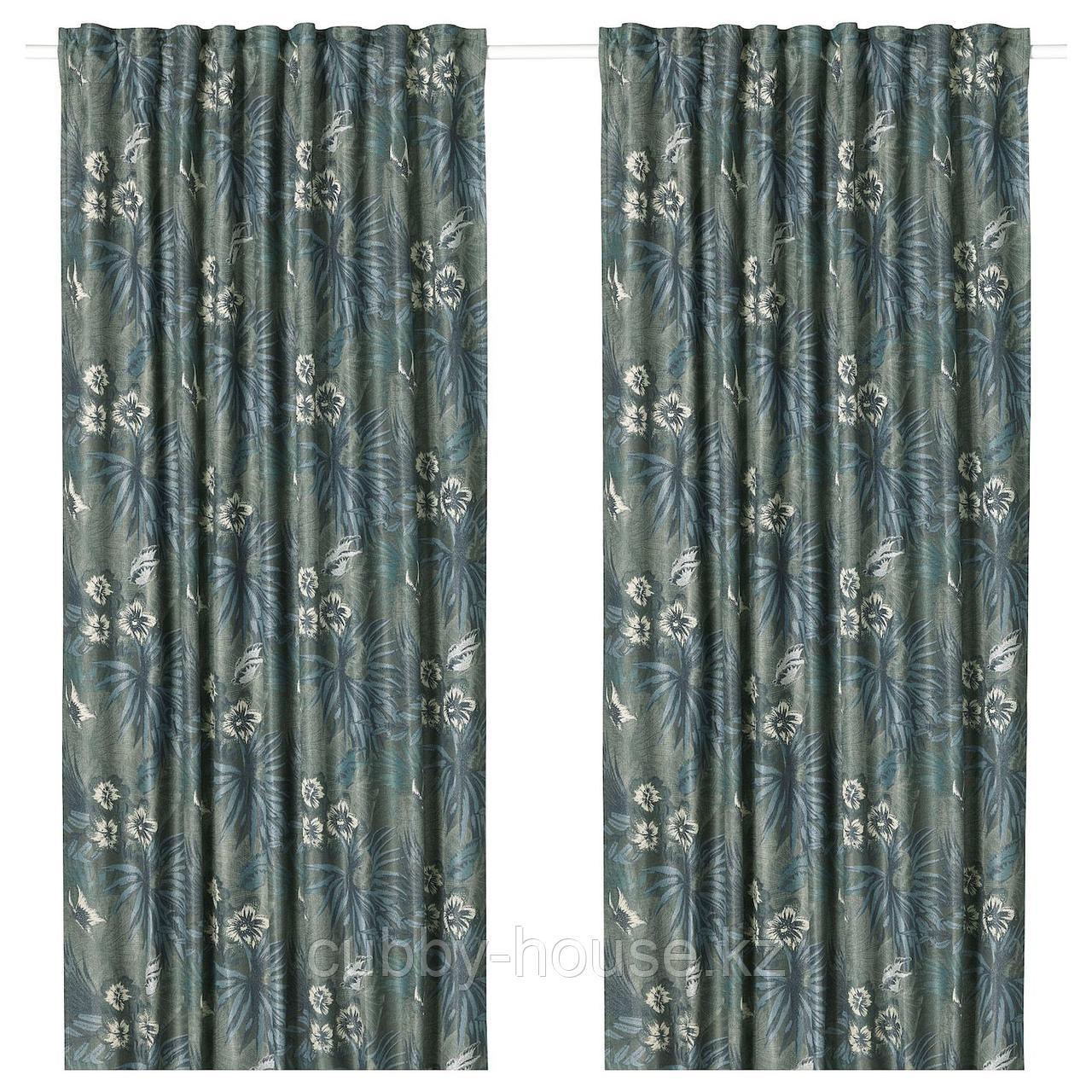 ТОРГЕРД Затемняющие гардины, 1 пара, синий, зеленый, 145x300 см