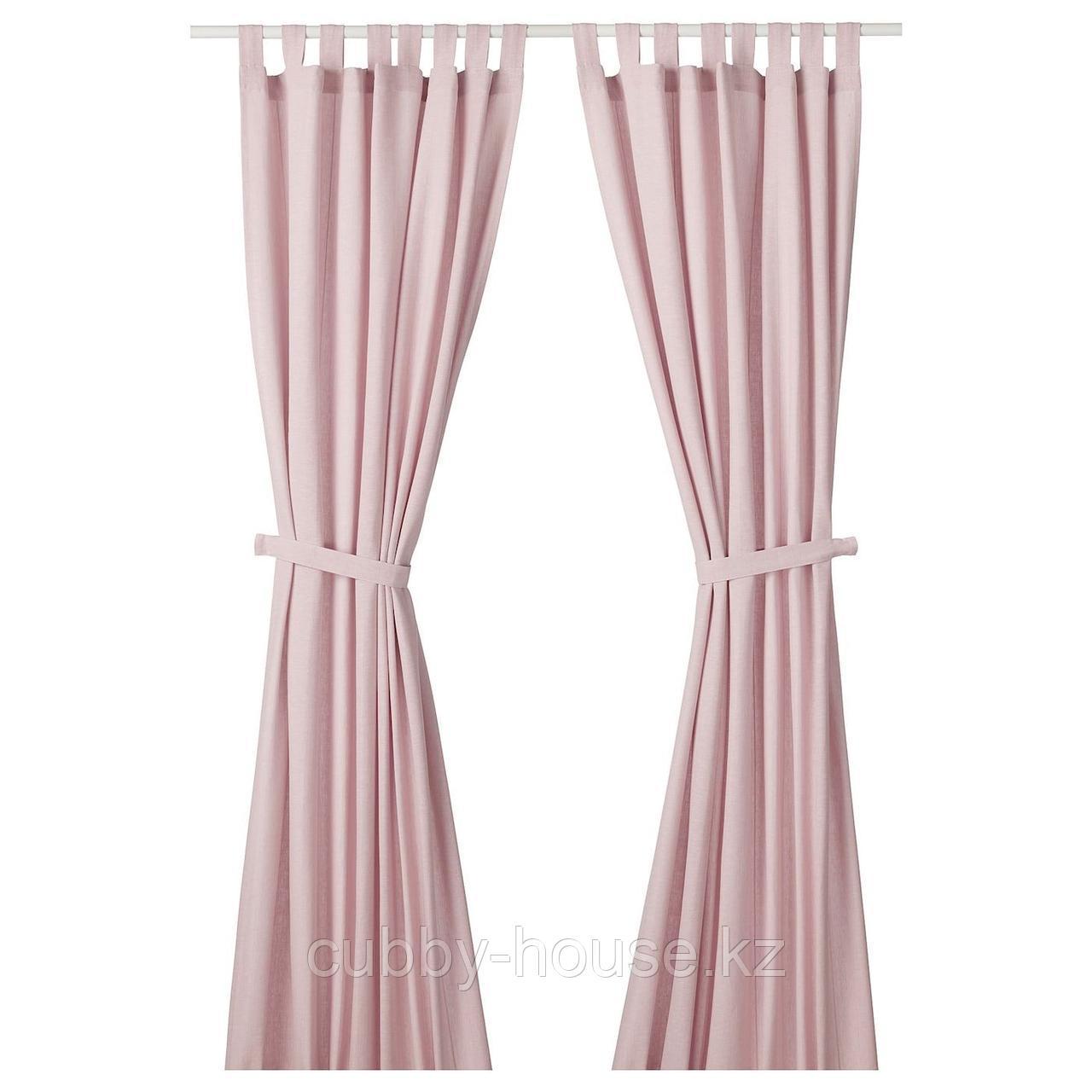 ЛЕНДА Гардины с прихватом, 1 пара, светло-розовый, 140x300 см