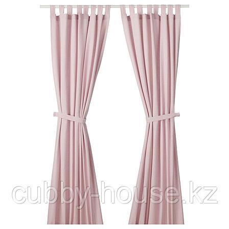 ЛЕНДА Гардины с прихватом, 1 пара, светло-розовый, 140x300 см, фото 2