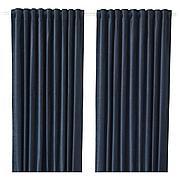 САНЕЛА Затемняющие гардины, 1 пара, темно-синий, 140x300 см