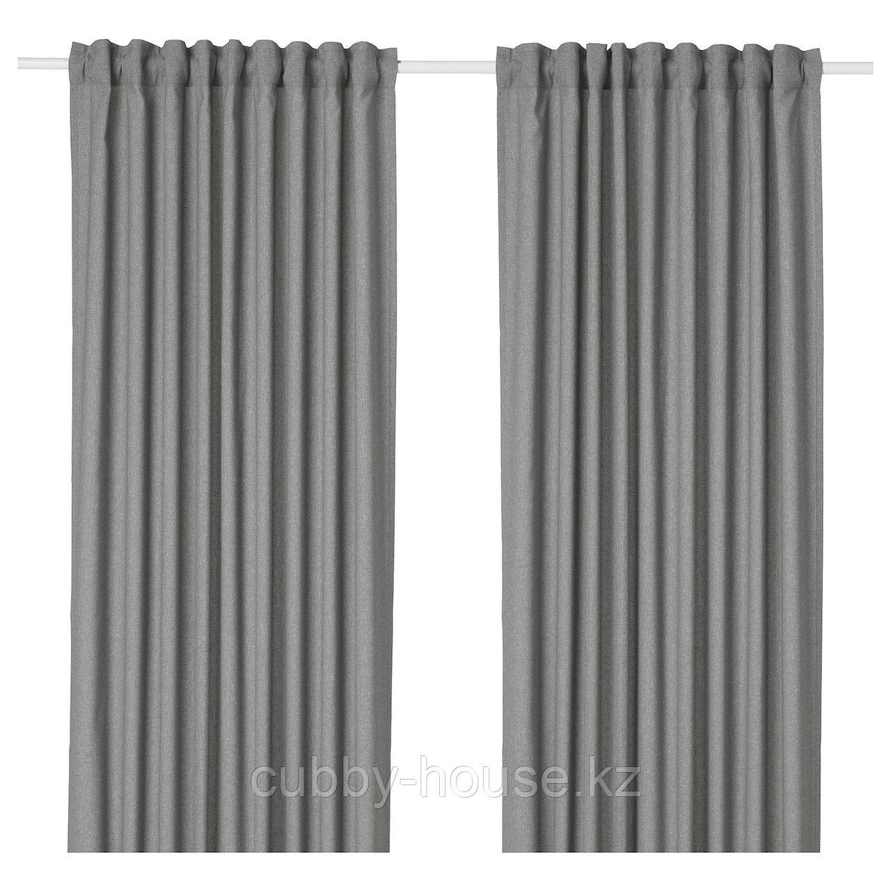 ХАННАЛЕНА Затемняющие гардины, 1 пара, серый, 145x300 см