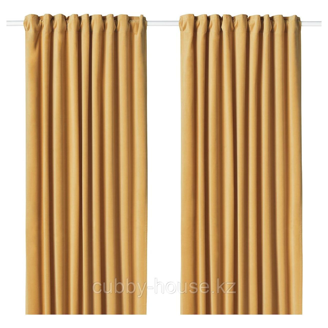 САНЕЛА Затемняющие гардины, 1 пара, золотисто-коричневый, 140x300 см