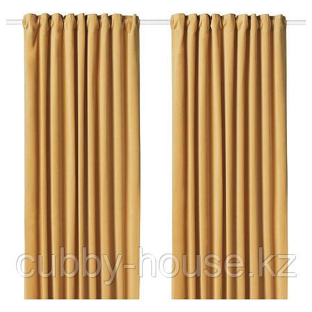 САНЕЛА Затемняющие гардины, 1 пара, золотисто-коричневый, 140x300 см, фото 2