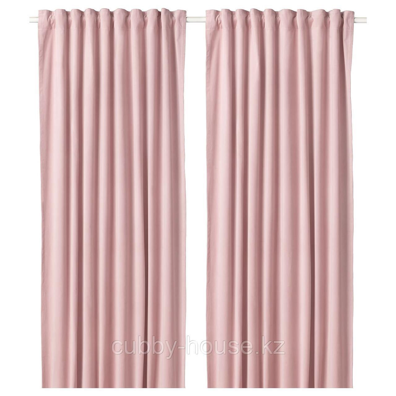 САНЕЛА Затемняющие гардины, 1 пара, светло-розовый, 140x300 см