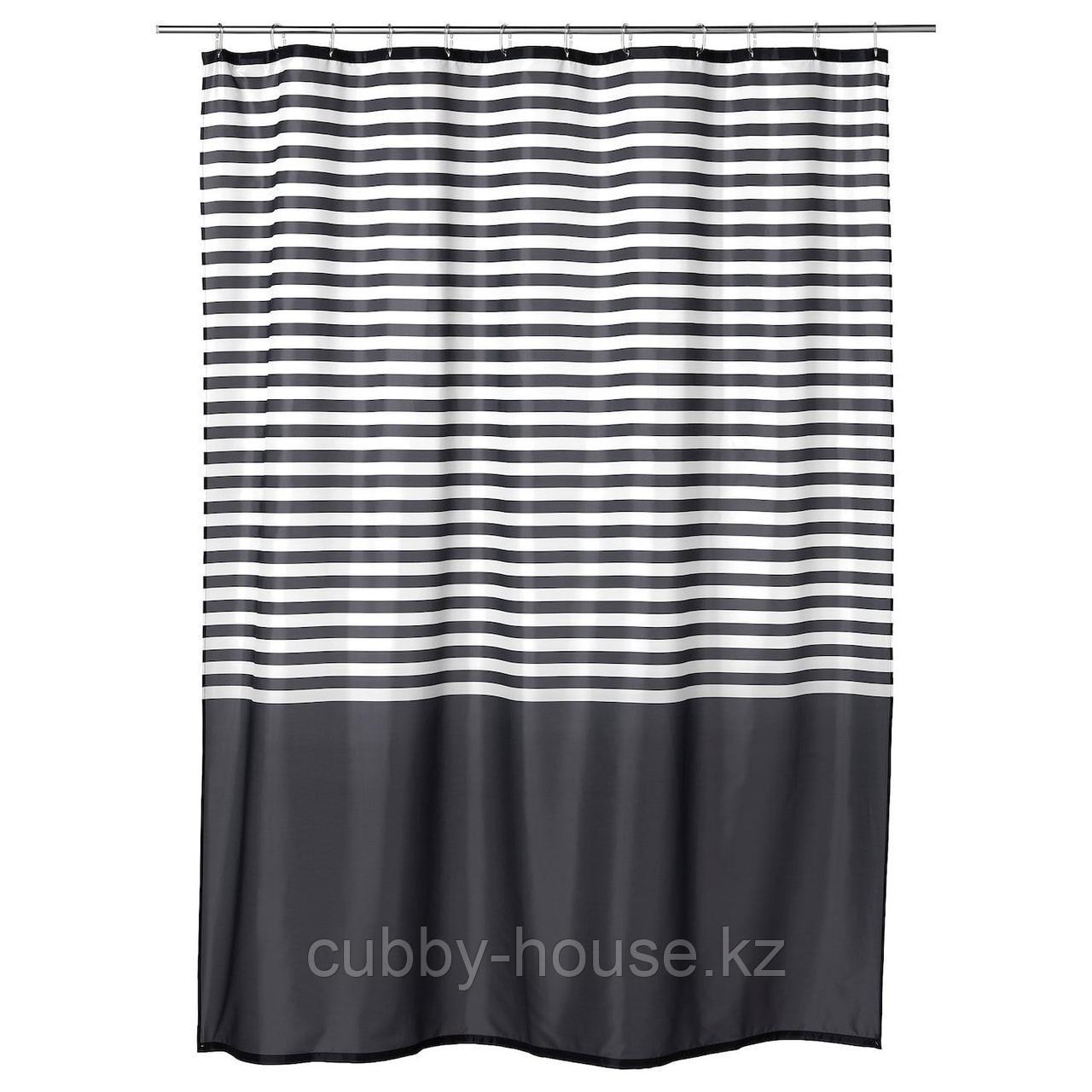 ВАДШЁН Штора для ванной, темно-серый, 180x200 см
