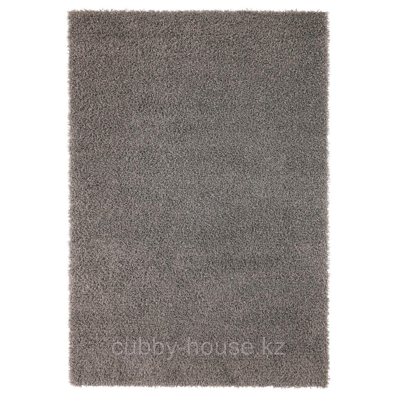 ХАМПЭН Ковер, длинный ворс, серый, 133x195 см