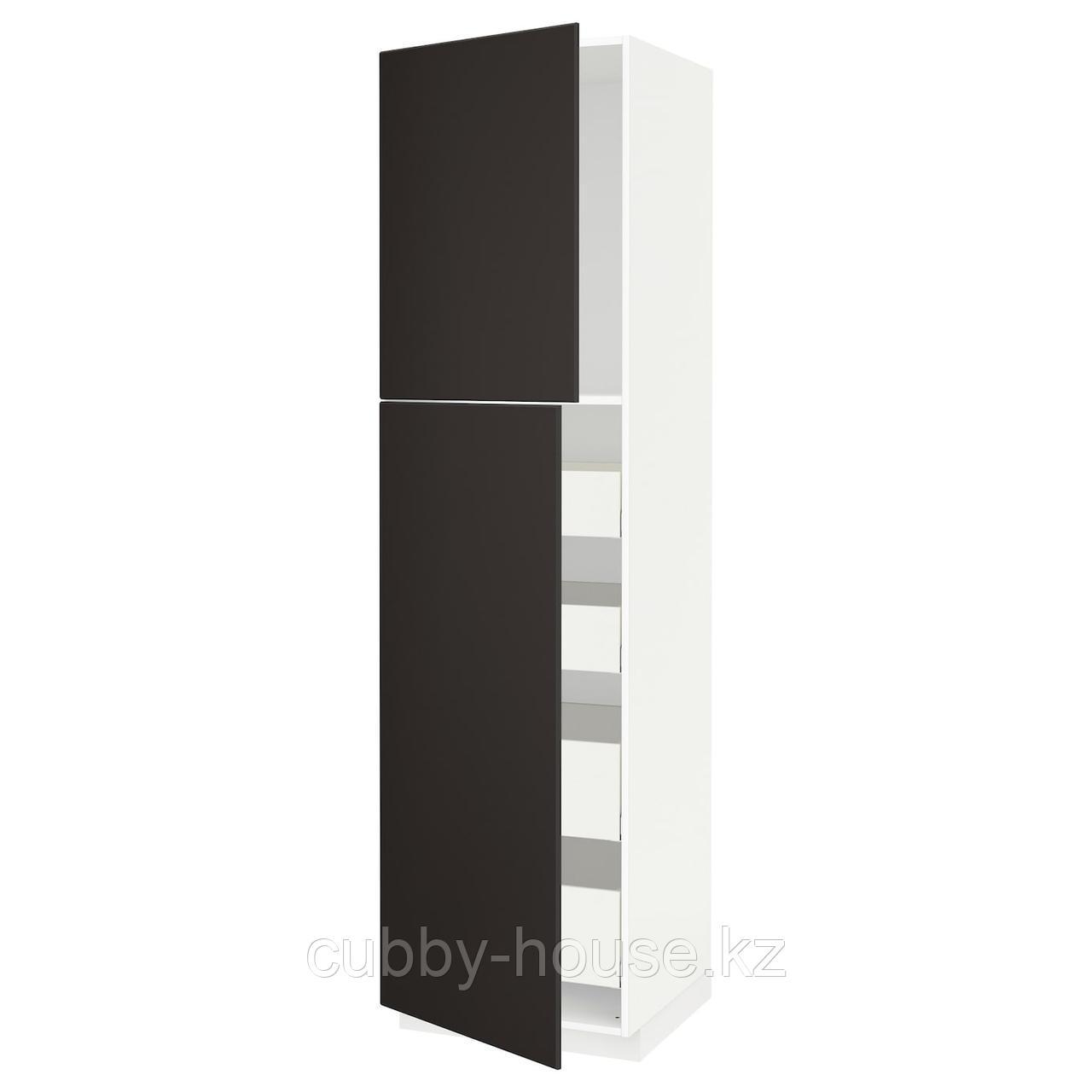 МЕТОД / МАКСИМЕРА Высокий шкаф/2дверцы/4ящика, белый, Кунгсбакка антрацит, 60x60x220 см