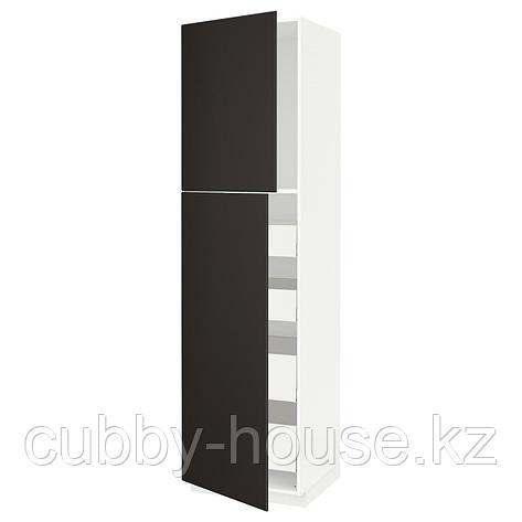МЕТОД / МАКСИМЕРА Высокий шкаф/2дверцы/4ящика, белый, Кунгсбакка антрацит, 60x60x220 см, фото 2
