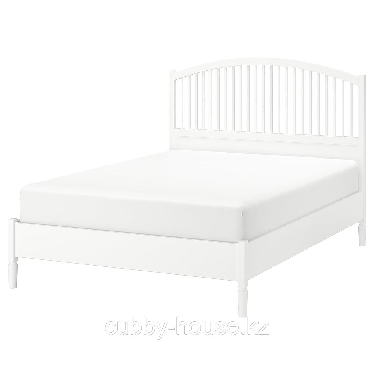 ТИССЕДАЛЬ Каркас кровати, белый, Леирсунд, 160x200 см