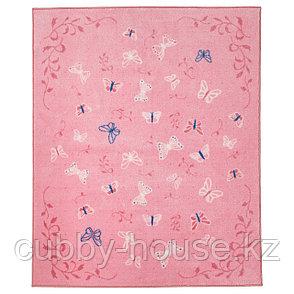 СОНГЛЭРКА Ковер, короткий ворс, бабочка, розовый, 133x160 см, фото 2