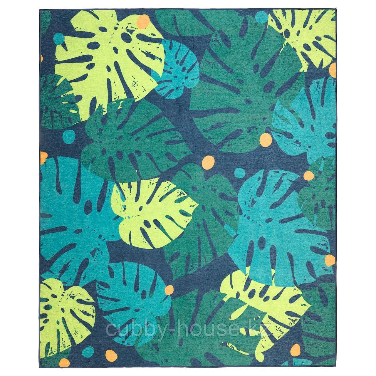УРСКОГ Ковер безворсовый, лист, зеленый, 133x160 см