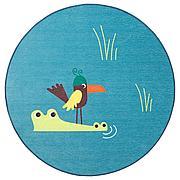 ДЬЮНГЕЛЬСКОГ Ковер безворсовый, птица, синий, 100 см