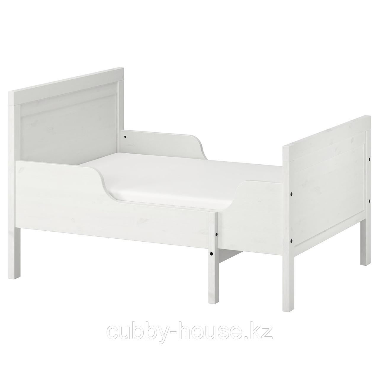 СУНДВИК Раздвижная кровать с реечным дном, белый, 80x200 см