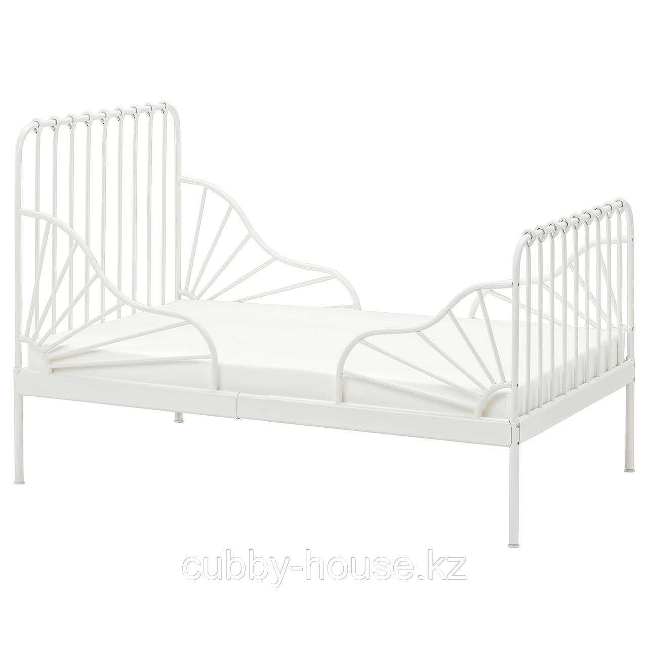 МИННЕН Раздвижная кровать с реечным дном, белый, 80x200 см