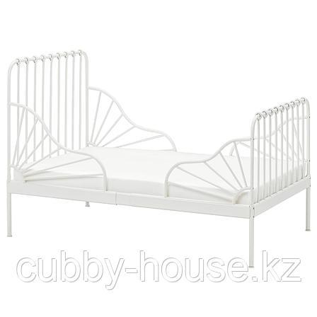 МИННЕН Раздвижная кровать с реечным дном, белый, 80x200 см, фото 2