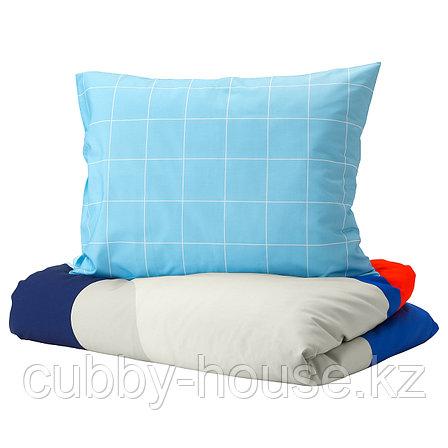 МЁЙЛИГХЕТ Пододеяльник и 1 наволочка, синий, графический орнамент, 150x200/50x70 см, фото 2