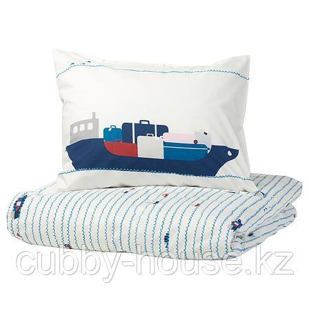 УППТОГ Пододеяльник и 1 наволочка, орнамент «волны/корабли», синий, 150x200/50x70 см, фото 2
