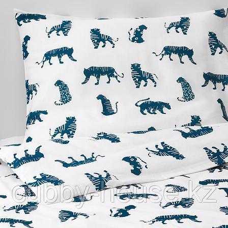 УРСКОГ Пододеяльник и 1 наволочка, тигр, синий, 150x200/50x70 см, фото 2