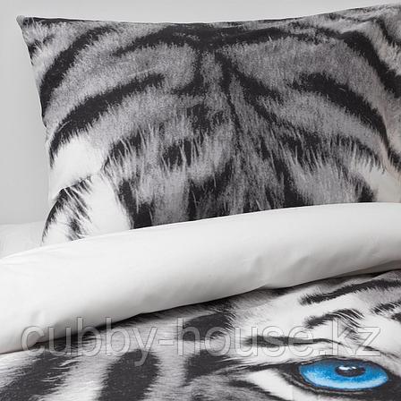 УРСКОГ Пододеяльник и 1 наволочка, тигр, серый, 150x200/50x70 см, фото 2