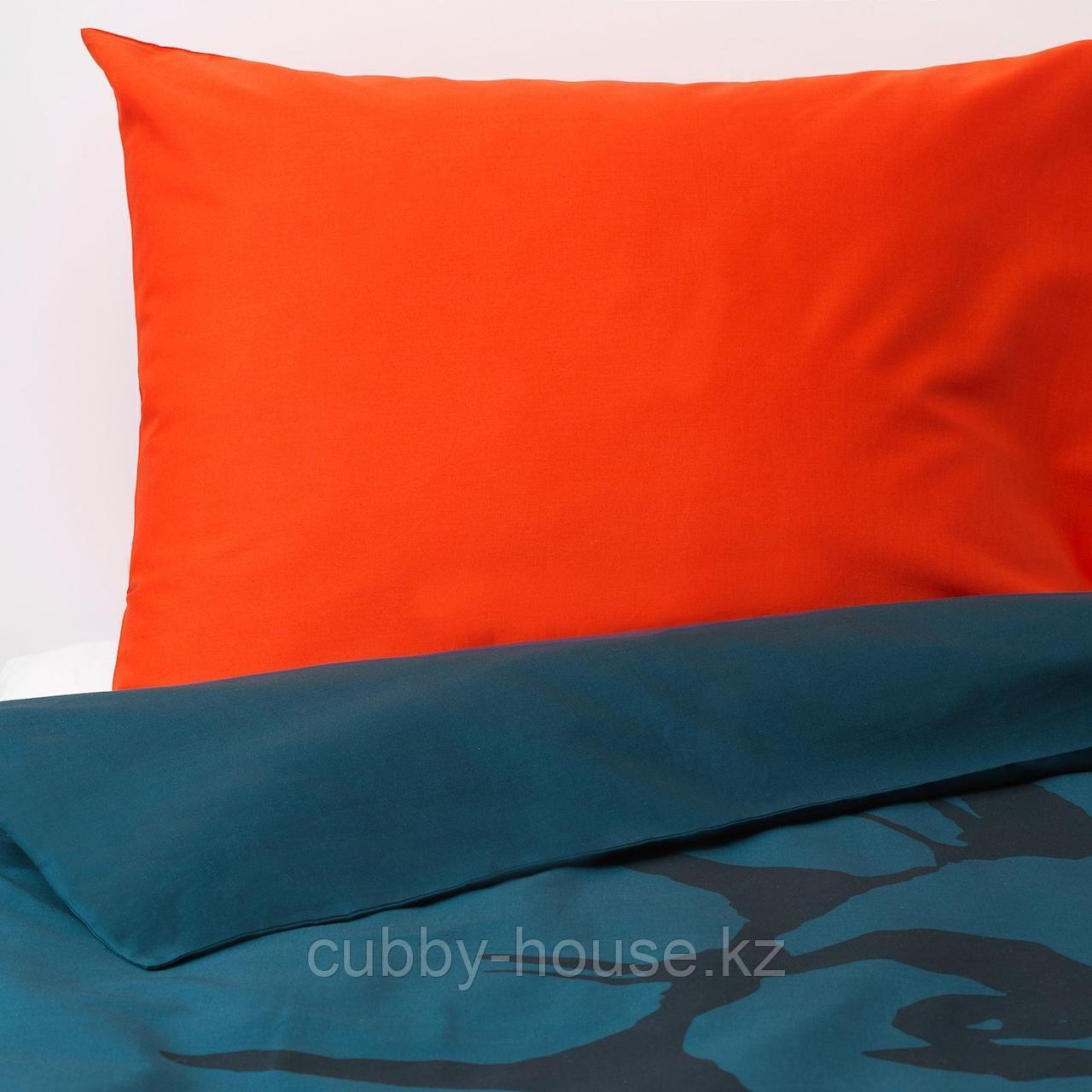 УРСКОГ Пододеяльник и 1 наволочка, лев, темно-синий, 150x200/50x70 см