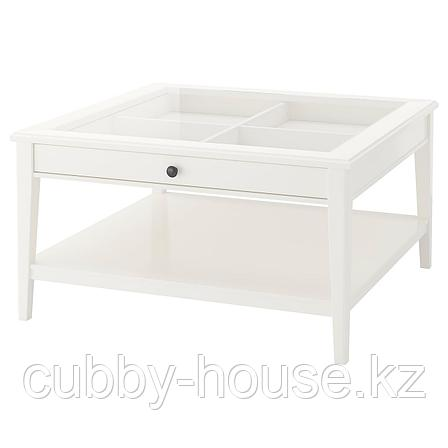 ЛИАТОРП Журнальный стол, белый, стекло, 93x93 см, фото 2