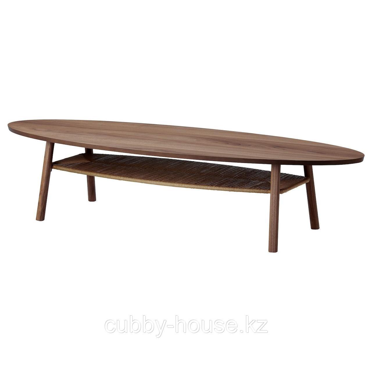 СТОКГОЛЬМ Журнальный стол, шпон грецкого ореха, 180x59 см