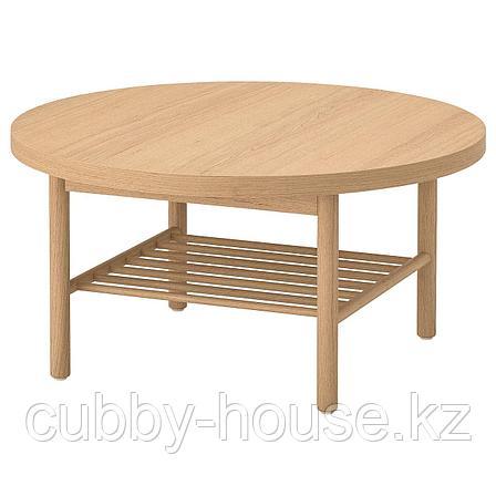 ЛИСТЕРБИ Журнальный стол, белая морилка дуб, 90 см, фото 2