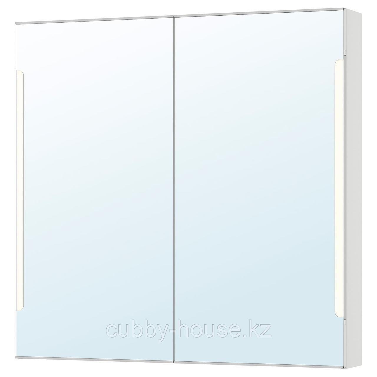 СТОРЙОРМ Зеркальн шкафчик/2дверцы/подсветка, белый, 100x14x96 см