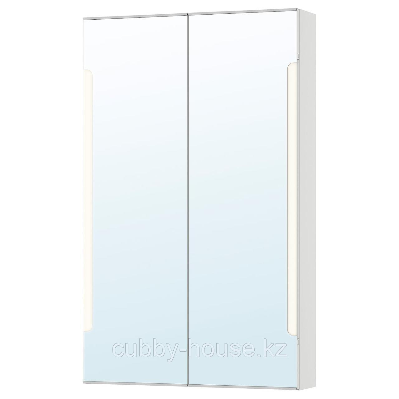 СТОРЙОРМ Зеркальн шкафчик/2дверцы/подсветка, белый, 60x14x96 см