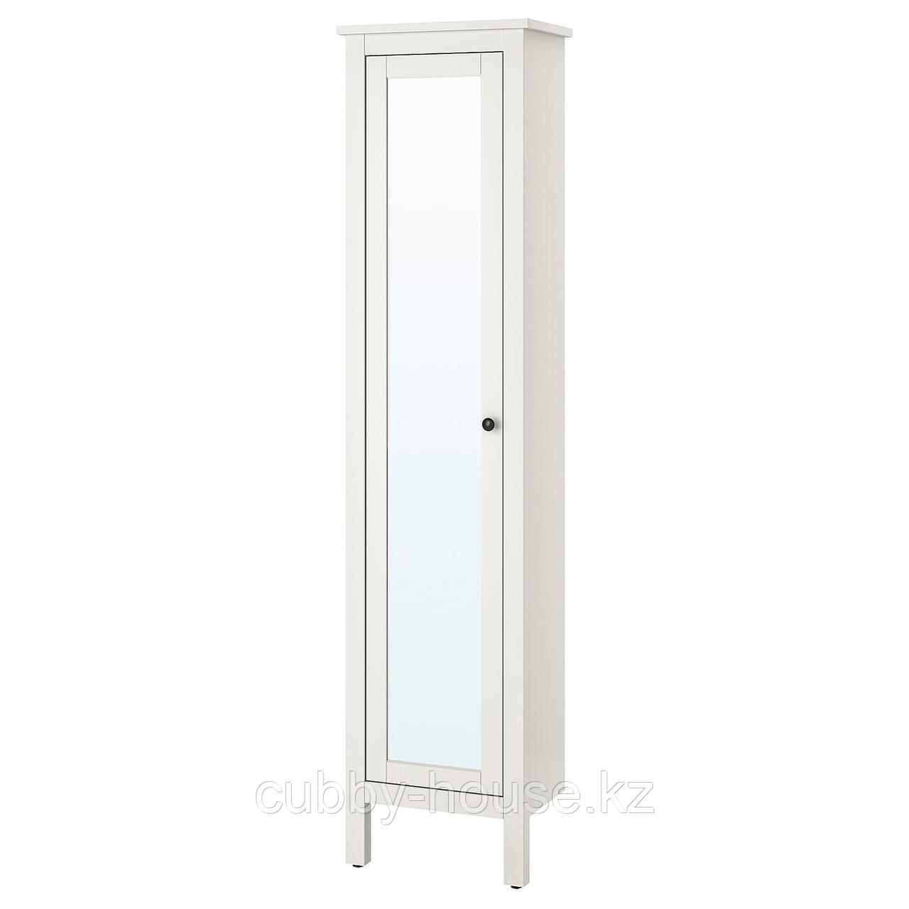 ХЕМНЭС Высокий шкаф с зеркальной дверцей, белый, 49x31x200 см