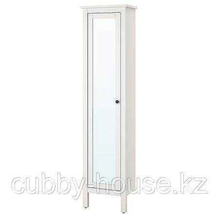 ХЕМНЭС Высокий шкаф с зеркальной дверцей, белый, 49x31x200 см, фото 2