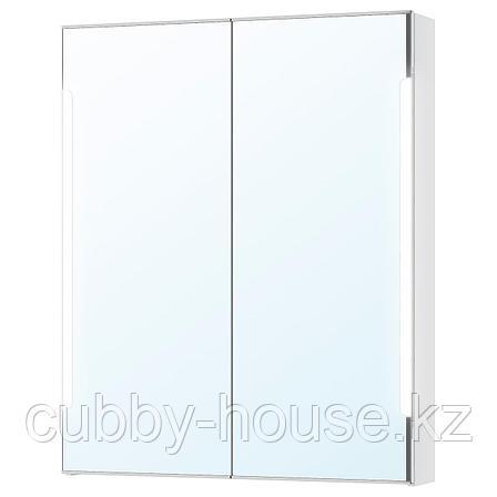 СТОРЙОРМ Зеркальн шкафчик/2дверцы/подсветка, белый, 80x14x96 см, фото 2