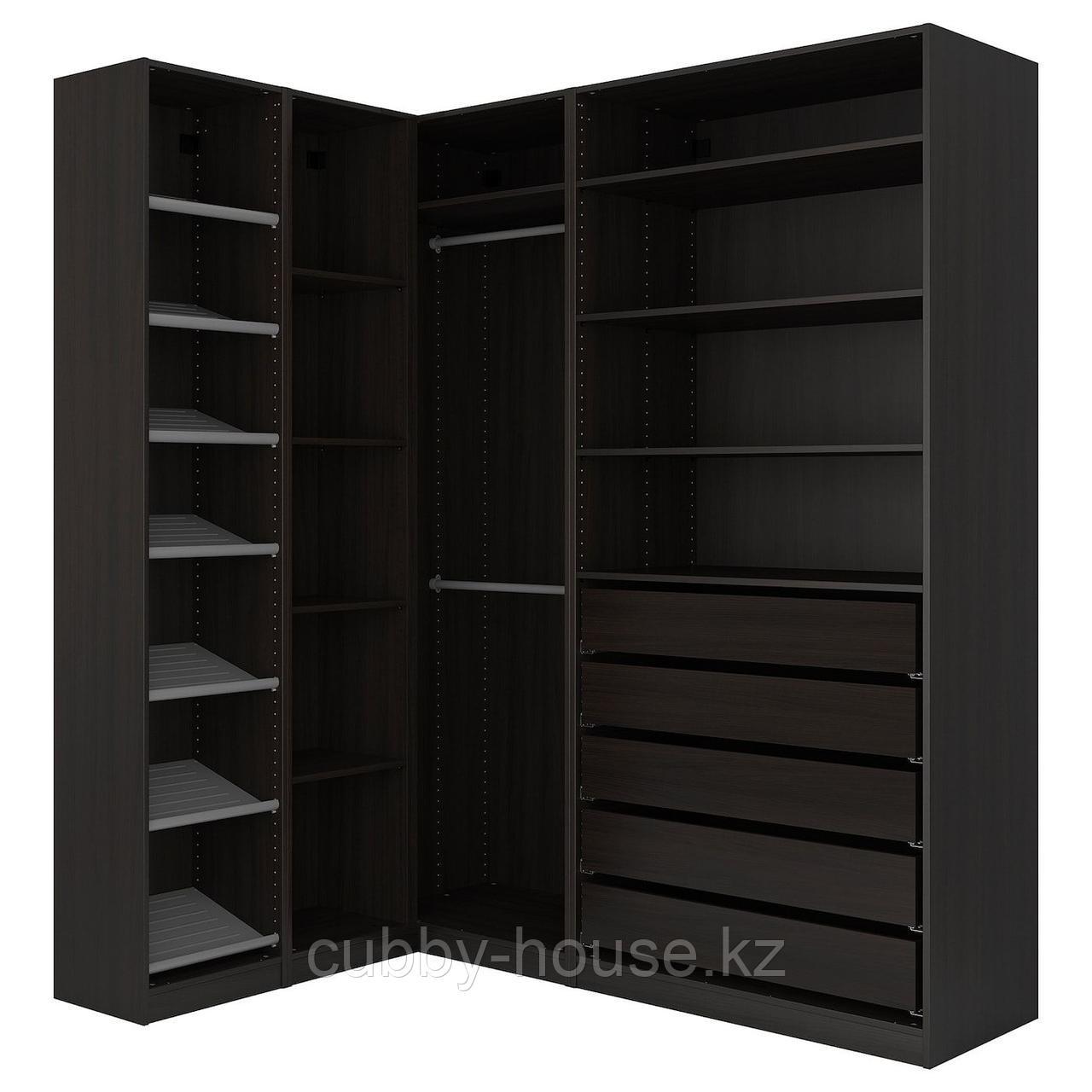 ПАКС Гардероб угловой, черно-коричневый, 160/188x236 см
