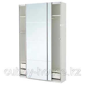 ПАКС Гардероб, белый, Аули зеркальное стекло, 150x44x236 см, фото 2