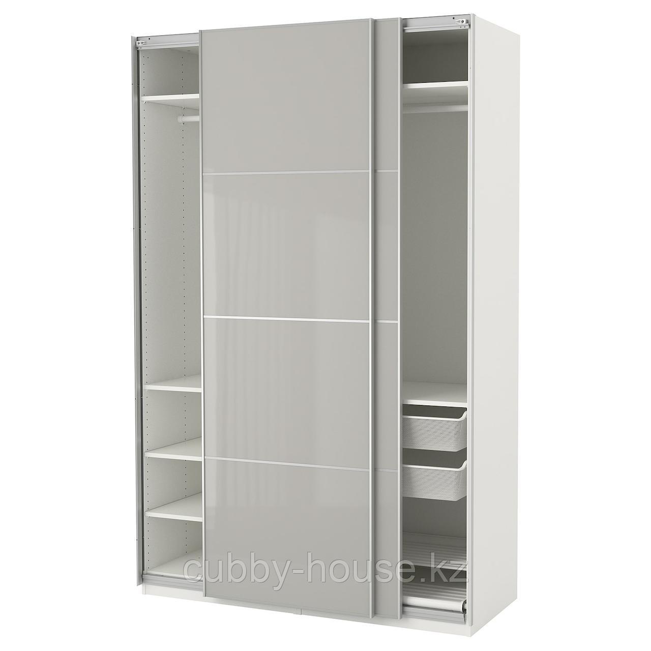 ПАКС Гардероб, белый Хокксунд, глянцевый светло-серый, 150x66x236 см