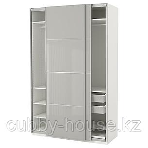 ПАКС Гардероб, белый Хокксунд, глянцевый светло-серый, 150x66x236 см, фото 2