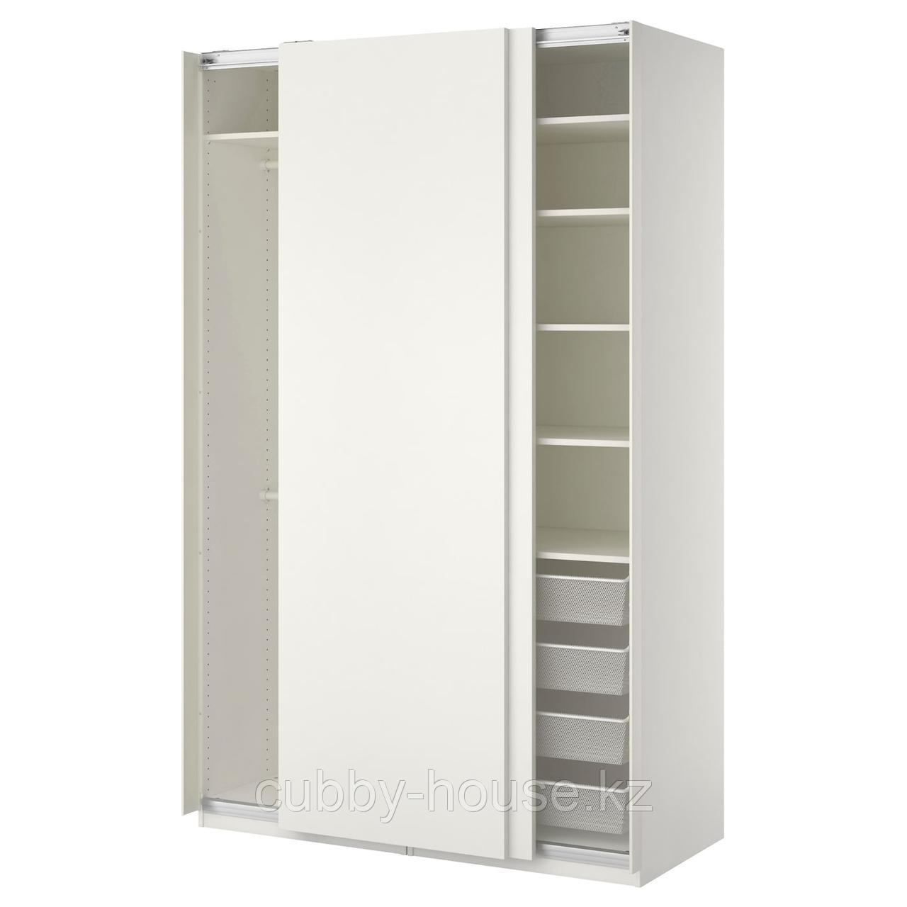 ПАКС Гардероб, белый, Хасвик белый, 150x66x236 см